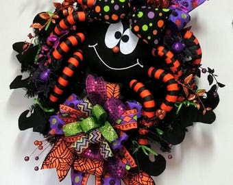 XXL Whimsical Spider Halloween Wreath, Halloween wreath, Spider wreath, Fun Kids Halloween wreath, Halloween decor, Terribow wreath