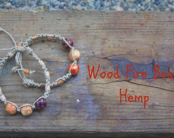 Wood Fire Beaded Hemp Bracelet
