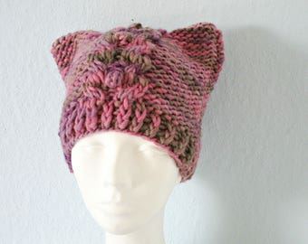 Girl birthday gift for sister women daughter Pink pussy hat Knit pussy hat Kitty cat hat Cat beanie Knit cat hat Woll pussy hat for girl