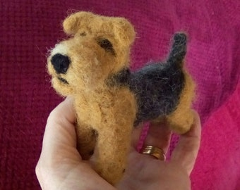 Needle felted Airedale Terrier miniature