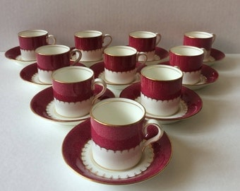 Set of 10 antique Coalport demitasse cups and saucers style 9157