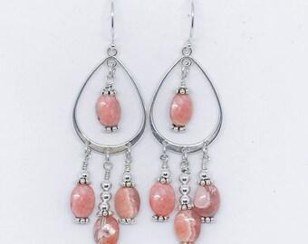 Rhodochrosite and Sterling Earrings