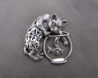 sterling silver kitty pin