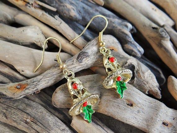 Christmas Xmas Jingle Bells Bell Earrings Gold Tone Holly Leaves Berries Festive Spirit Enamel Enameled