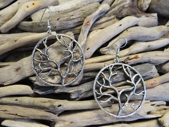 Large Tree Of Life Earring Earrings Ear Ring Rings Drops Drop Dangle Dangles Pagan Wiccan Wicca Spiritual Eternity Family Immortality