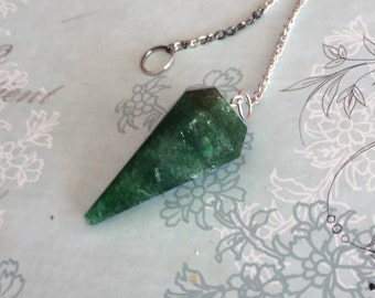 Green Aventurine Crystal Pendulum, Dousing Tool infused with REIKI/