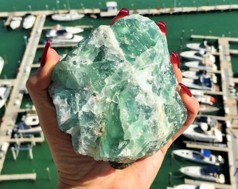 Large Green Fluorite, Rainbow Fluorite, Raw Fluorite Stone / Home Decor / Boho Chic /  Healing Crystals and Stones