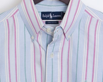 Size M - Polo Ralph Lauren vintage heavy cotton logo shirt with a button-down collar