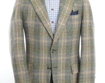 """Size ~42L - 1970's vintage private label wool tweed check two-button sport coat/jacket/""""blazer"""""""