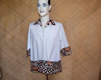 1960's Vintage Men's 'Chapmans' White Hawaiian Shirt