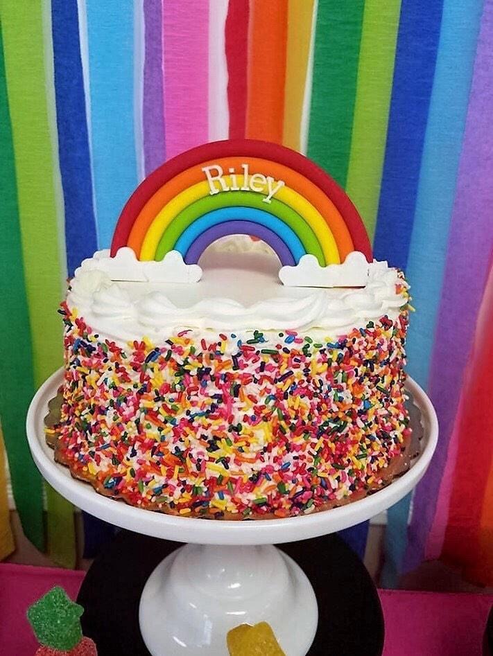 Vintage Rainbow Cake Decoration Edible : SALE Rainbow cake topper. Edible fondant rainbow cake decor