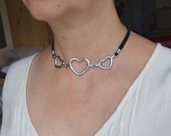 Choker, black choker, black velvet choker, stainless steel, heart necklace, heart choker, black and silver choker (727)