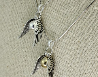 SS032- Plain Quidditch inspired Sterling Silver or Gold winged ball necklace