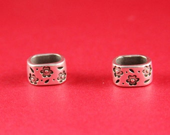 R/10 MADE IN EUROPE 2 zamak floral sliders, licorice zamak  slider, 10x6mm  sliders, silver spacer sliders(8578-0077) Qty4