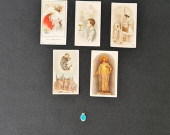 lot 5 vintage holy cards with a blue enamel miraculous medal