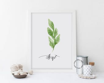 Mint Prints, Mint Leaf, Herbs Prints, Printable, Kitchen Decor, Botanic Leaves, Home Decor, Kitchen Wall Art, Instant Download