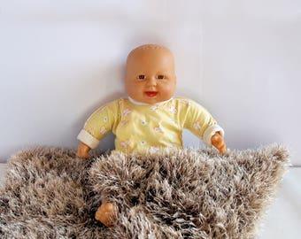 Beige and brown baby posing blanket 21x25 Baby photo prop Newborn mini blanket Knitted baby blanket Basket stuffer Beige baby rug Baby wrap