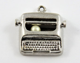 Large Typewriter Sterling Silver Charm or Pendant.
