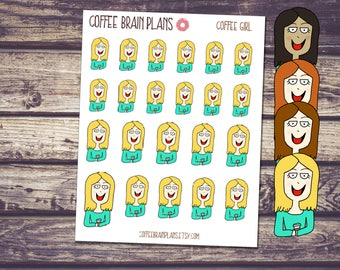 Hand Dawn Coffee Lover Girl Planner Stickers