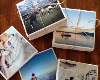 CUSTOM PHOTO COASTERS - tile coasters, photo coasters, custom coasters, christmas gifts, custom gifts, homemade gifts, personalized gifts