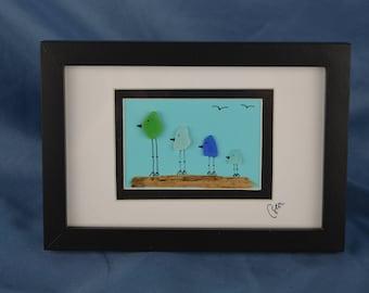 Bird scene seaglass art, 4.5in x 6.5in framed seaglass, coastal decor, 4 birds, Valentines day gift, seaglass, beach lover