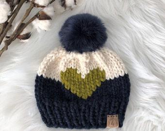 Toddler Faux Fur Pom Pom Hat/Valentine's Day Gift/Knit Hat for Child/Pom Pom Beanie/Navy Green Beanie/Winter Hat Child/Big Heart Toddler Hat
