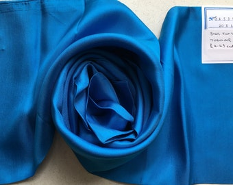 Vintage Pure Silk Twill Long Scarf  - Made in Italy - Peacock Blue - Unused from 1980s Stock