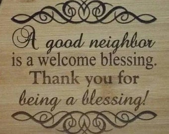 Personalized Bamboo Cutting Board Kitchen Neighbor Blessing Birthday Christmas Gift
