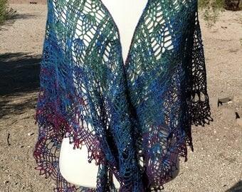 Purples and Dark Greens Gradient Silk and Merino Triangular Crocheted Lace Shawl