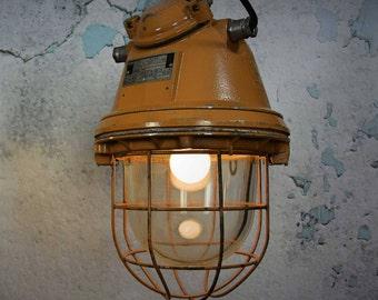Vintage industrial  DDR  pendant light - Caged light - DDR - pale yellow pendant light - factory light - vintage industrial pendant light