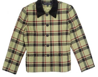Vintage Plaid Green Blazer W/ Brown Corduroy Collar Clueless Size 8