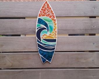 Surfboard art, mini surfboard, mosaic , outdoor art, home decor, beach,