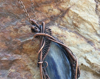 Kyanite wire wrapped pendant jewelry