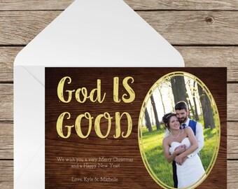 Photo Christmas Card, Christmas Card Template, Religious Christmas Card, God is Good, Digital Christmas Card, Digital Template, Rustic