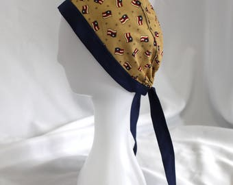 Navy and Tan American Flag Surgical Scrub Cap Dentist Chemo Hat