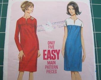 60s Straight Dress Gathered into Yoke  Butterick 4184 used - sz 12, bust 32