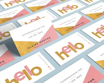 Modern Geometric Business Card Design, Gold Foil Business Card, Printable Business Card, Glamour Business Card, Elegant Business Card,