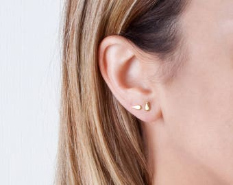Tiny Gold Stud Earrings,  Teardrop Studs, Small Gold Earrings, Drop Stud Earrings, Tiny Earrings, Silver Stud Earrings, Dainty Earrings Gold