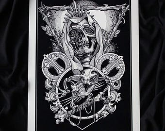 "Tattoo Print- "" Sadness"" by Mariusz Romanowicz / art print,dark art,dark,gothic art,skull art,horror art"
