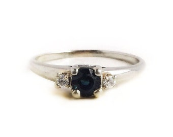 Vintage 18k White Gold .30 CT Blue Sapphire & Diamond Ring ~ Size 7 1940s Fine Engagement Ring