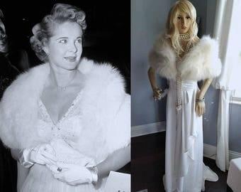 Luxury Vintage Arctic Fox Fur Stole    White Fur Stole   Bridal Fur Shrug   Cape   Bolero   Ivory Fox Fur Stole   Wedding Fur Capelet Wrap