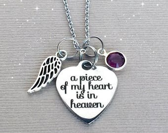 A Piece of my Heart is in Heaven Necklace, Memorial Necklace, Sympathy Gift, Remembrance Jewelry, Memorial Jewelry, Sympathy Jewelry, MEM025