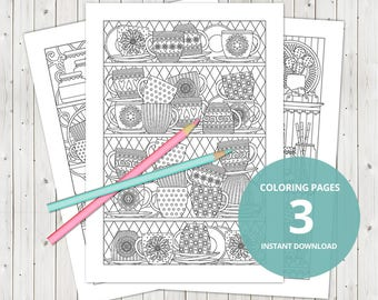 3 Adult coloring pages / instant download, printable pdf