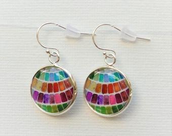 Watercolor Palette Earrings- Gift for art teacher Painter Earrings - gift for art student - art teacher gifts -silver