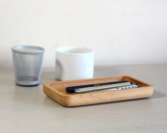 Oak Stationery Holder. Pen Tray. Wooden Tray. Desk Tidy. Desk Accessories. Office Storage and Organisation. Gifts for men
