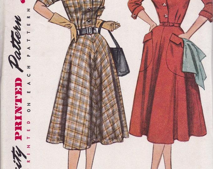FREE US SHIP Bust 35 Vintage Retro 1950s 50s Original Sewing Pattern Simplicity 3691 Uncut Half size Glamour Dress Big Pockets ff