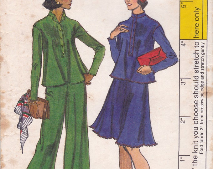 FREE US SHIP Vogue 8977 Vintage Retro 1970s 70s High Waist Huge  Wide Leg Pants Flared Jacket skirt Sewing Pattern Size 12 Bust 34 Uncut