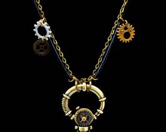 "Steampunk men necklace / mixed ""Mjölnir"" Thor's hammer"