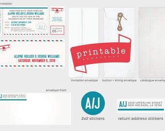 Printable Wedding Invitation | Retro + Travel + Destination + Boarding Pass