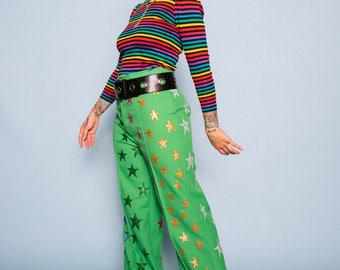 Starburst 70s Lime Green Vintage High Waisted Bell Bottoms With Hand Painted Rainbow Glitter Stars